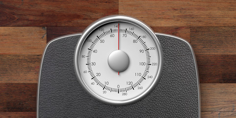 Weighing scale isolated on wooden background. 3d illustration