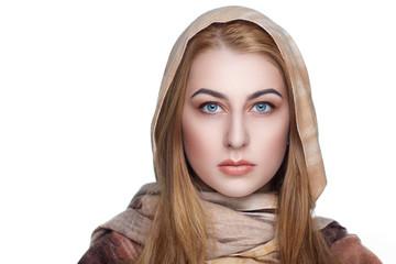 woman golden scarf