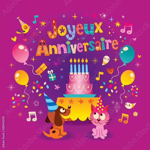 Joyeux Anniversaire Happy Birthday In French Greeting Card