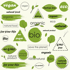Organic food, farm fresh and natural product icons and elements collection