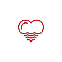 Love with desert sand or wave sea, ocean, water Icon. Simple Heart Illustration Line Style Logo Template Design.