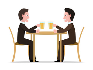 Vector illustration two cartoon men drinking beer