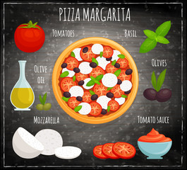 Pizza margherita vector. The recipe for cooking traditional pizza with ingredients. Top view.