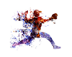 Vector watercolor silhouette baseball player