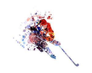 Vector watercolor silhouette hockey player
