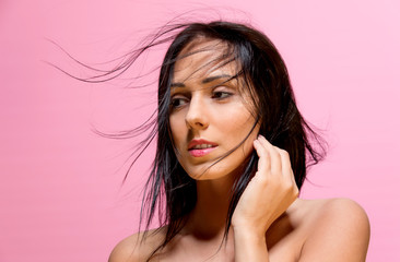 Beautiful woman close up portrait