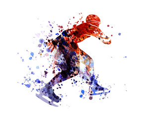 Vector watercolor silhouette skater