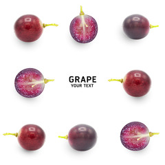 Ripe grapes isolated on white background. Food concept.