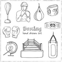 Hand drawn doodle boxing set.