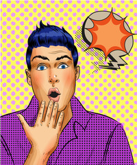 Vector retro pop art surprised young man