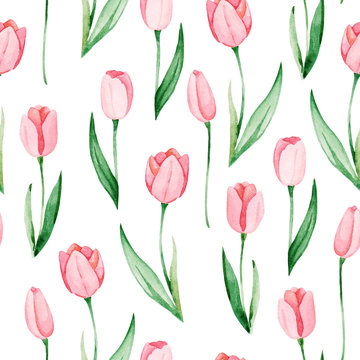 Watercolor tulips pattern. International women's day. For design, card, print or background