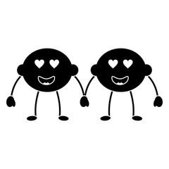 limes or lemons in love heart eyes fruit kawaii icon image vector illustration design  black and white
