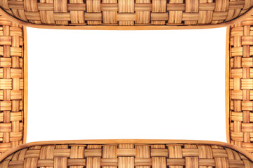 Bamboo frame weave texture on White background, copy space