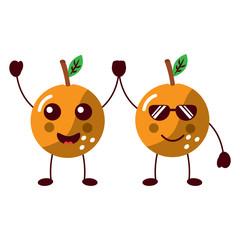 orange happy sunglasses fruit kawaii icon image vector illustration design