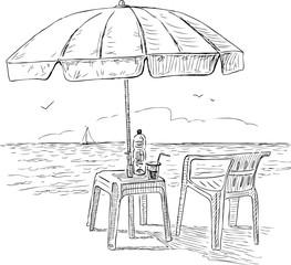Sketch of a beach umbrella on the seashore