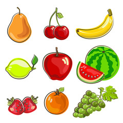 hand drawn icon fruits set