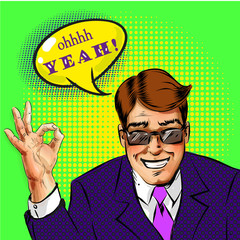 Vector pop art successful businessman showing ok hand sign
