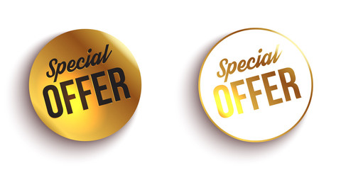 Set of color special offer buttons or badges. Vector illustration.