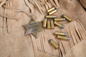 Wild west period ammunition and sheriff badge
