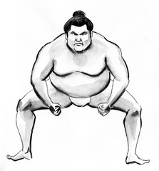 Ink sketch of a sumo wrestler