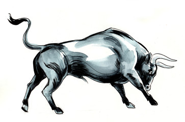 Watercolor illustration of a black bull