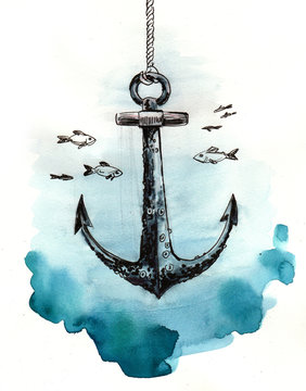 Watercolor sketch of an anchor underwater