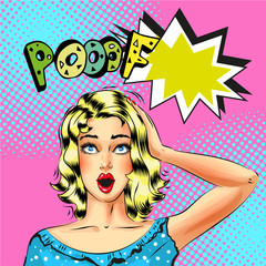 Vector pop art beautiful blond woman with Pooof speech bubble