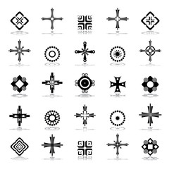 Cross, circle and square design elements.