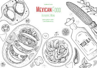 Mexican food top view frame. A set of classic mexican dishes with tacos, fajita, poblano. Food menu design template. Vintage hand drawn sketch vector illustration. Mexican cuisine engraved image.