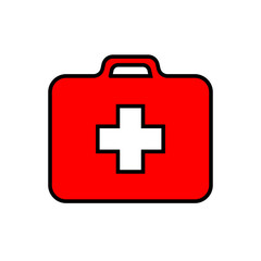 Red first-aid kit with white cross, medical set, black stroke, simple vector illustration, isolated, white background