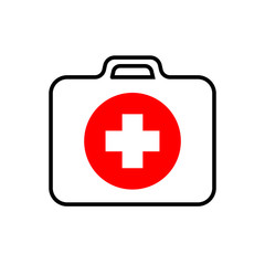 White first-aid kit with a white cross and red circle, medical set, black stroke, simple vector illustration, isolated, white background