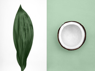 Coconut Flat lay Half coconut in peel and big bright green leaf are lying on two-tone background Top view Trendy colorful photo mockup with space for text