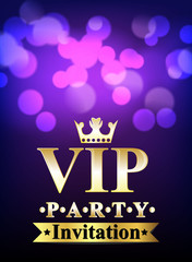 Vip invitation card with blurred background.