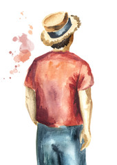 Guy in the red shirt and in the straw hat standing with his back to the viewer, isolated on white background. Watercolor hand drawn illustration