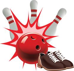 bowling con scarpe e birilli e palla