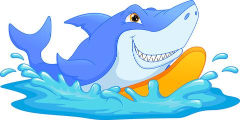 surfing shark cartoon