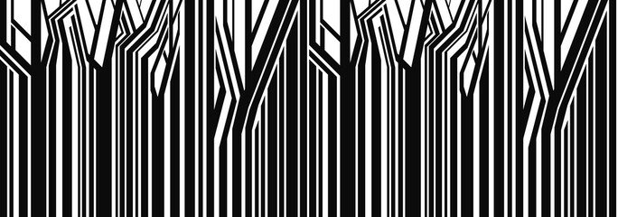 Obraz Seamless, primitive geometric trees,Abstract vector image. illustration.Panorama of trees. Background. Landscape. Horizon. The abstract vector image. - fototapety do salonu