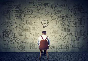 Man brainstorming on business plan
