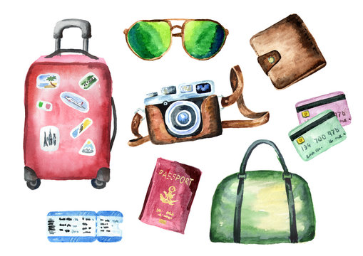 Tourist set with suitcase, bag, passport, ticket, wallet, credit cards, camera and sunglasses. Isolated on white background. Watercolor hand drawn illustration