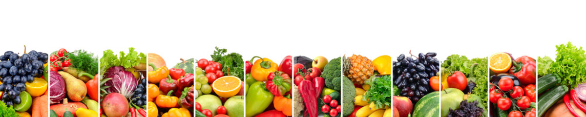 Fruits and vegetables useful for health isolated on white