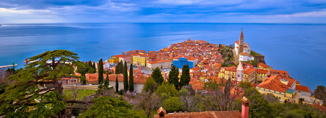 Poster Mediterraans Europa Idyllic coastal town of Piran on Adriatic sea aerial panoramic view