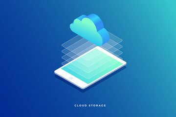 Isometric concept with tablet pc. Cloud storage and transmission of information. Vector illustration.