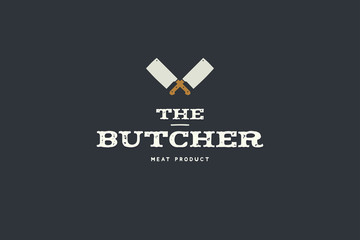 Logo of butcher with picture of two kitchen hatchet. Design elements  for  meat stores, packaging and advertising. Vector Illustration.