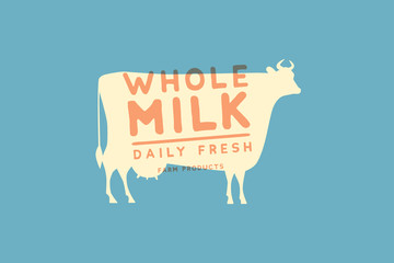 Emblem template with white silhouette of cow against blue background and sample text: Daily fresh whole milk. Image for milk stores, market and advertising. Vector logotype design.