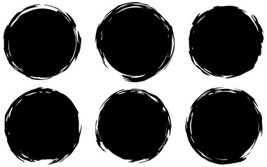 Grunge stamps Collection, circles. Black round abstract backgrounds smears. Banners, icons , logos, icons, labels and badges set . Vector texture of a disaster form. Vector eps 10.