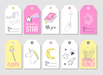 Unicorn Kids Tags Collection for Family Party Decoration. Vector illustration