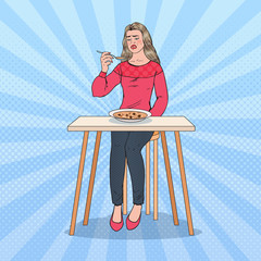 Pop Art Woman Tasting Soup with Disgusting Face. Tasteless Food. Vector illustration