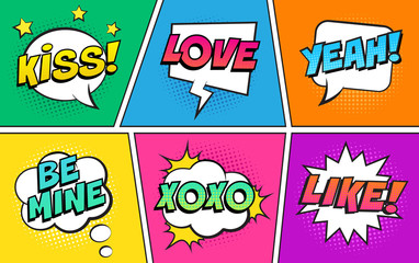 Retro comic speech bubbles set on colorful background. Expression text KISS, LOVE, YEAH, BE MINE, XOXO, LIKE. Vector illustration, vintage design, pop art style.