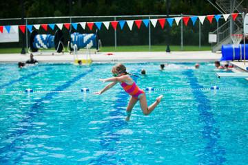 Little Girl Swim Lessons off Diving Board