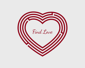 Find love concept with heart shaped maze